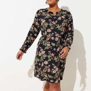 LOFT Plus Floral Long Sleeve Henley Dress Sz. 22